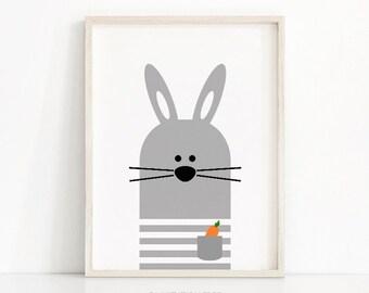 Bunny Nursery Wall Art, Digital Download Nursery Print, Instant Download, Kids Prints, Animal Nursery Art, Gray Nursery Decor, Kids Wall Art