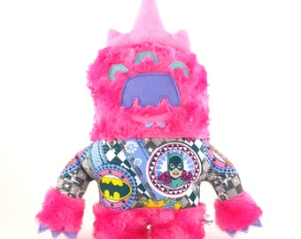 Pearl the Monster Plush, creature, stuffie, Wonder Woman, Bat Girl, Super Girl, child friendly, pink, lovie, plushie, stuffed animal