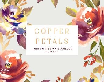 Watercolour Flower Clipart - Copper Petals