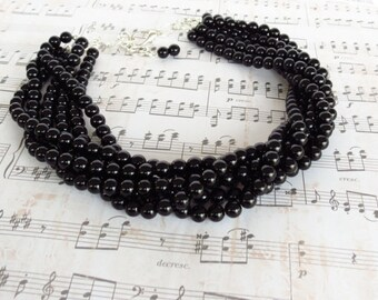 Black Wedding Necklace  Black Bridesmaid Jewelry Onyx Bridal Jewelry Black Statement Necklace Black Pearl Necklace Black Wedding Jewelry