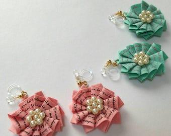Rosette clip on earrings, handmade clip on earrings, flower earrings, pearly earrings