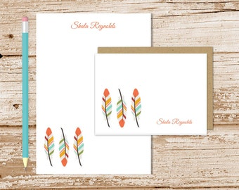 personalized feather stationery set . tribal feathers notepad + note card set . womens notecards note pad . stationary set gift set