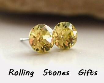 7.27mm Jonquil Swarovski Studs Xirius Round Rhinestone Stud Earrings-Jonquil Swarovski Crystal Stud Earrings-Yellow Crystal Earrings