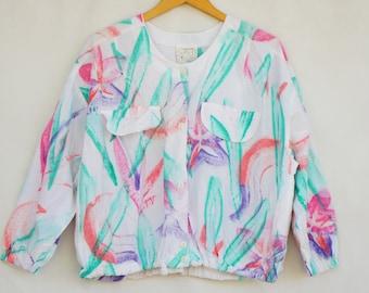 Vintage 80s-90s Tie Dye Batik Jacket By Play Alegre San Diego California/Beach/Retro/Boho/Hippie