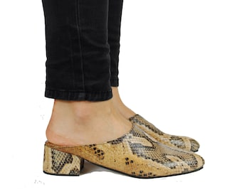 Faux Snake Skin Leather Mules. Summer Shoes