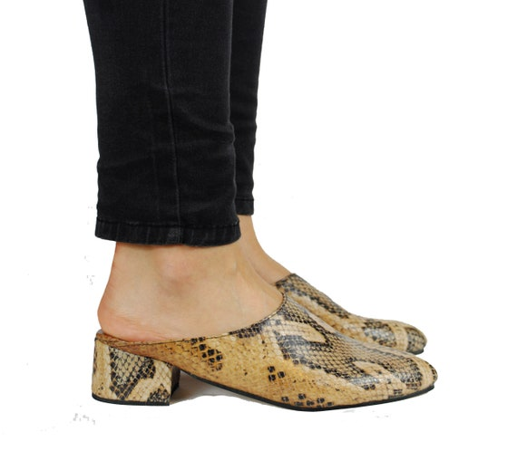 Mules Summer Skin Snake Mules Print Shoes Leather Shoes Heeled Snake IOqw0w