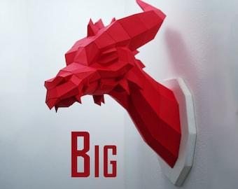 Big Dragon - Papercraft Kit, red paper dragon head, wall trophy fantasy fan, geometric style, polygon art low poly style
