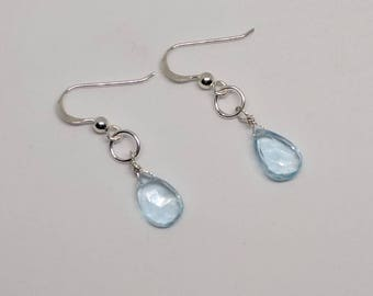 Blue topaz earrings. Sterling silver or gold filled avail. Simple blue topaz briolettes earrings