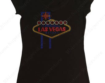"Women's Rhinestud T-Shirt "" Welcome to Las Vegas "" in S, M, L, 1x, 2x, 3x"