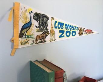 Vintage Los Angeles Zoo Pennant