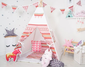 "FREE SHIPPING teepe ""Red Ethnic"", kids teepee play tent wigwam, children's teepee, playtent, tipi, wigwam, kids teepee, play teepee"