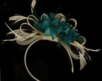 Cream Hoop & Teal Feathers Fascinator On Headband for Weddings and Ascot Races