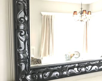 Large Black Mirror, Large Painted Mirror