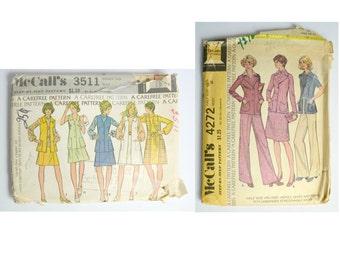 1970s Fashion McCalls Carefree Pattern Set of 2, McCall's Step by Step Pattern 3511 A Carefree Pattern, McCalls Step by Step Pattern 4272