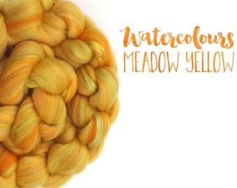 Blended top - 23 micron Merino wool - Mulberry silk - Yellow - 100g - 3.5oz - MEADOW YELLOW