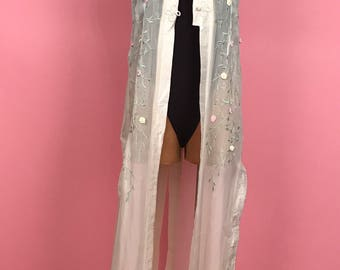 Sheer embroidered maxi jacket S