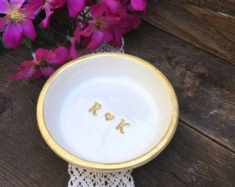 Classic Ring Dish Personalized - Gold - Ring Dish - Initials - Personalized Gift - Catchall - Wedding Ring Holder - Wedding Gift