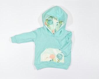 Aqua Spring Floral Sweatshirt, Aqua French Terry Hoodie, Baby Aqua Hoodie, Spring Floral Sweatshirt, Mint Floral Baby/Toddler Girl Hoodie