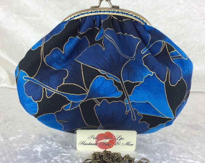 Handmade handbag purse clutch kiss clasp Alice frame bag Ginko Leaves