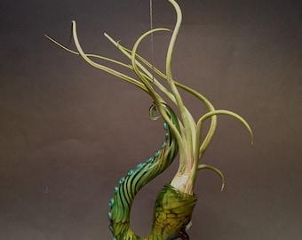 Green Hanging silver and gold fumed airplant terrarium with teeth, tentacles and glow in the dark eye 5.75 x 3 x 1.5