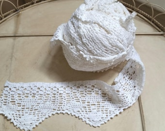 5 yards hand crocheted lace