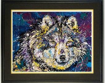 Wolf wall art, Wolf Totem art, Wild Wolf art, Wolf print, Wildlife art,  wall art,  Johno Prascak