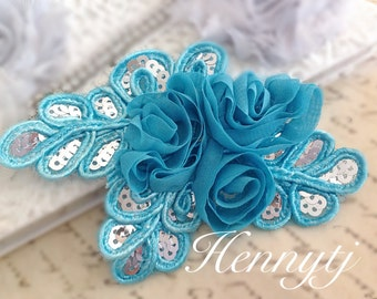 "NEW: ""TURQUOISE Blue"" Chiffon and Sequins Leaf Polyester Fabric Rose Appliques. Hair accessories"