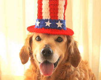 4th of July Dog Hat, Independence Day Hat for Dogs, Uncle Sam Hat for Dogs, July 4 Pet Costume, American Flag Dog Hat, 4th of July Pet Hat