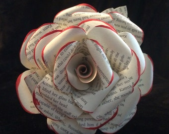 Large book page paper flowers with leaves and red painted tips, valentine flowers, anniversary gift, proposal gift, girlfriend