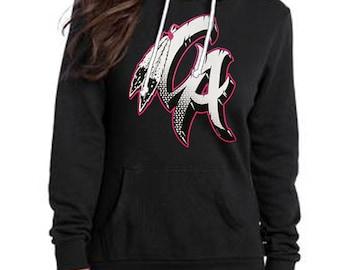 Native California Pink & White on black hoodie
