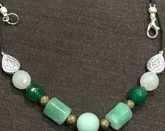 Green Jade necklace with a white crystal and copper beads touch to the necklace -Elegant and casual wear