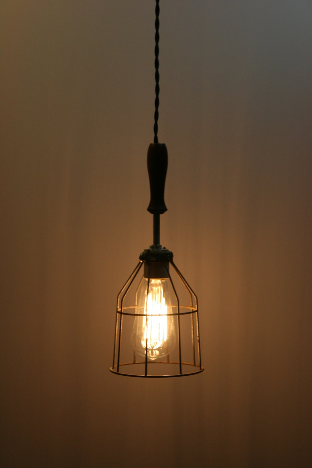 Wood handle industrial hanging pendant light with vintage zoom greentooth Choice Image