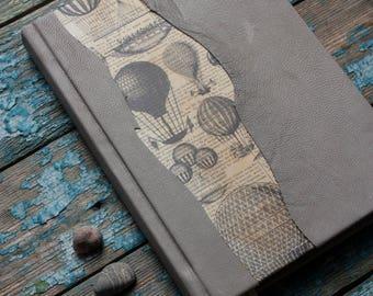 Grey Travel Journal, Balloon Journal, Journal for traveler, Travel notebook, Handmade Journal, Leather Journal, Travel book