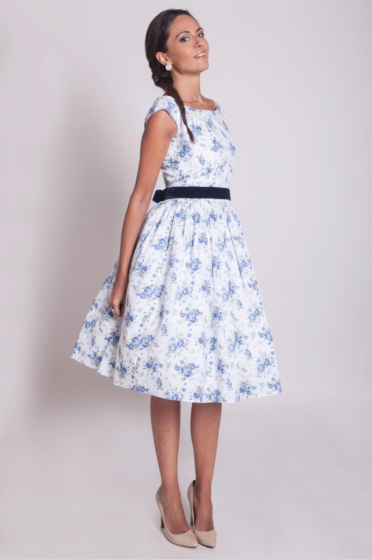 1950er Jahre floral Prom Kleid 50er Jahre blau floral