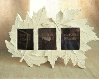 """Cottage Chic Leaf Frame for Wedding or Home Decor / Botanical Frame in French Vanilla / 3 Photo Frame for 2.5"""" x 3"""" Photo"""