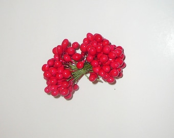 Vintage Millinery Red Holly Double End Laquered Berries Wired Stems Stamens by VintageStudioSupply