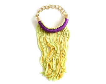 Mardi Gras tassel bracelet for her Fat Tuesday carnival style, purple green gold festival Accessories, New Orleans boho chic style / KREWE