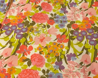 Vintage fabric mod fabric retro craft sewing quilting repurpose material funky flower pink green decor cottage