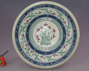 PERSONALIZED  Extra Large Stoneware Bowl Red and Pink Flower with Shamrocks - Stoneware Pottery