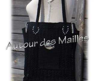 Black crochet handbag