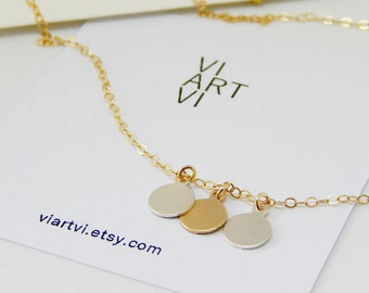 Three initials necklace Three coins necklace Coins necklace Choker necklace Mother's necklace Delicate necklace Gold choker Coins choker