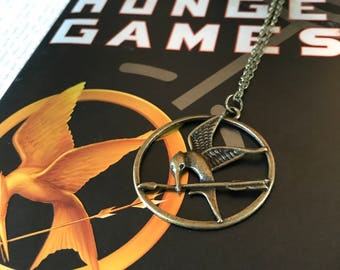 Mockingjay Necklace, Girl on Fire Necklace, Archer Necklace, District Twelve, Girl on Fire, Everlark, Book Necklace, Bookish Jewelry