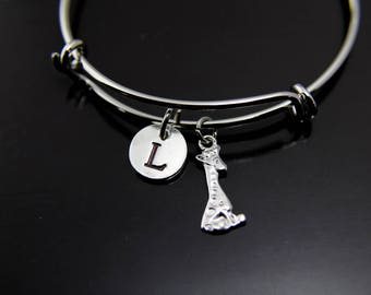 Silver Giraffe Charm Giraffe Bangle Cute Giraffe Jewelry Expandable Bangle Personalized Bangle Initial Charm Bangle Customized Jewelry