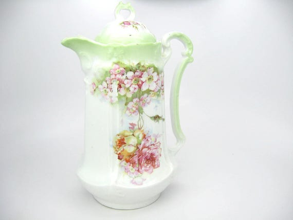 Antique Floral China Shabby Chic Teapot / Chocolate Pot