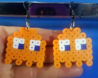 PacMan Ghost Orange (Pokey/Clyde) Perler Bead Earrings