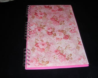 Vintage Roses Notebook, Rose Print Notebook, Roses Jotter, Laminated Notebook, A4, Personalisation Possible