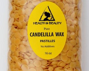 16 oz, 1 Lb CANDELILLA WAX Flakes Organic VEGAN Pastilles Beards Premium Prime Grade A 100% Pure