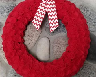 Red felt rose wreath - Great for Valentine's Day