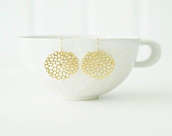 Gold Filagree Mum Flower Earrings