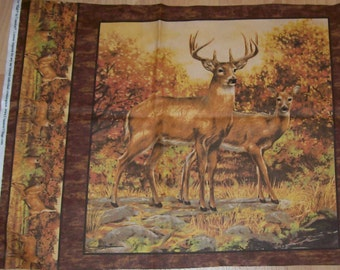 A Whitetailed Deer in the Wild A Buck And Doe Cotton Fabric Panel Free US Shipping
